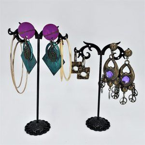 Five Pairs of Gold & Bronze Tone Earrings